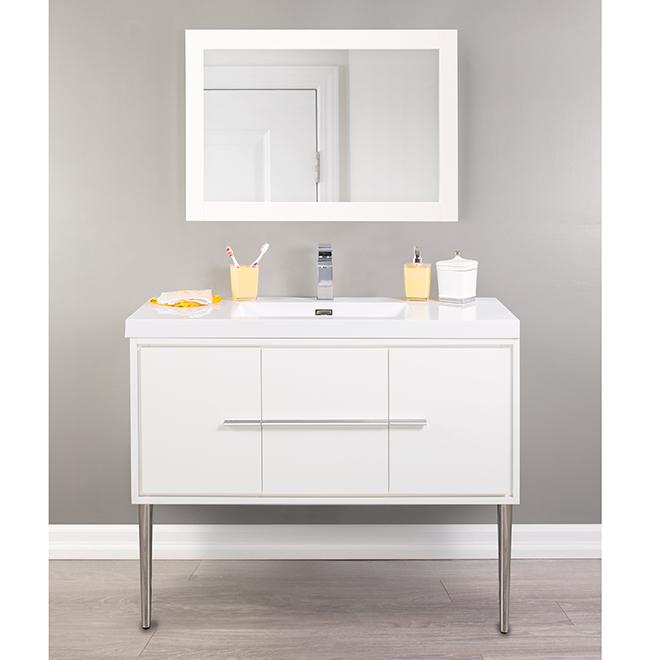 "Meuble-lavabo mural, Carlington, 42"", blanc lustré"