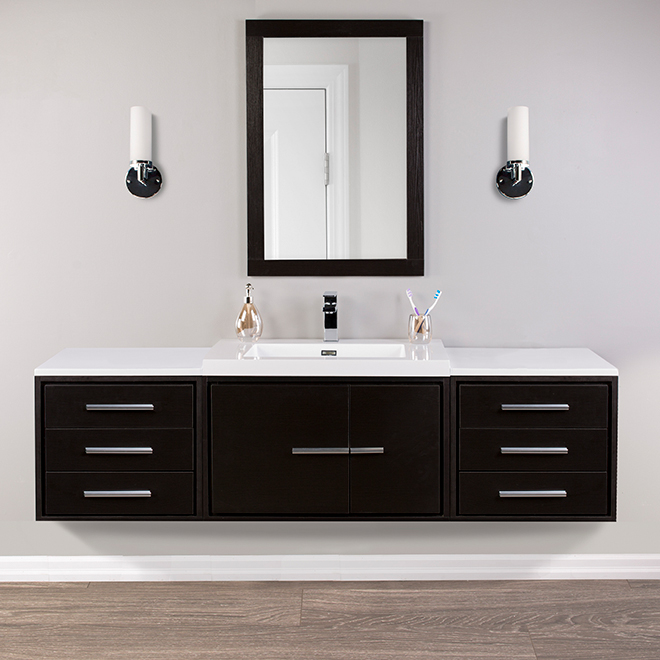 Cabinet with Marble Top - Carlington - 3 Drawers- Espresso