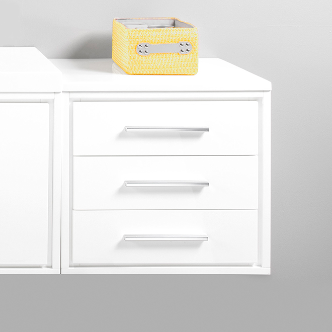 Cabinet with Marble Top - Carlington - 3 Drawers- Gloss White