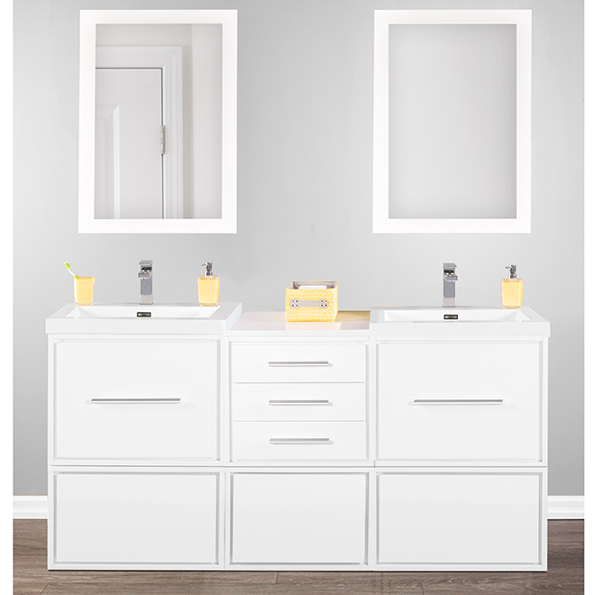 """Cabinet with Wheels - Carlington - 1 Drawer - 23 5/8"""" - Gloss White"""