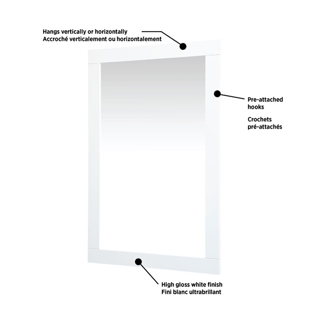 "Bathroom Mirror - Carlington - 24"" x 35 7/8"" - Gloss White"