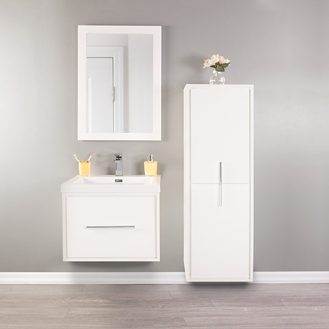 Lingerie, Carlington, 2 portes/3 tablettes, blanc lustré