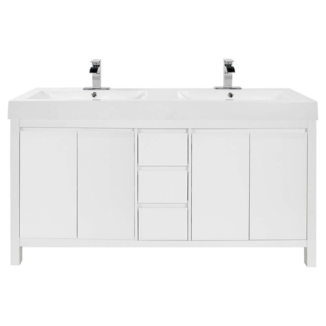 "Meuble-lavabo double, Ostella, 61"", blanc"