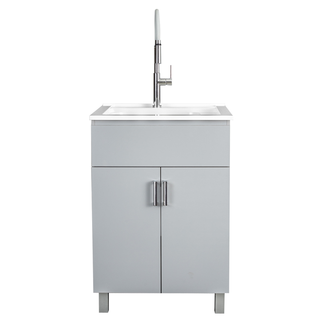 "Laundry Sink with Cabinet - 25"" - Grey"