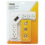 Corner Power Strip - 6 Outlets - 120 V - 4' - White