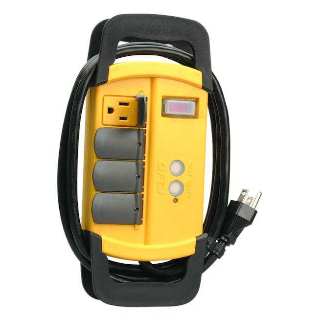 Bloc d'alimentation 4 prises avec disjoncteur DDFT, jaune