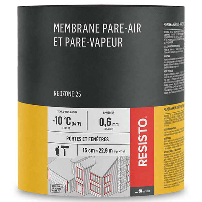 Membrane pare-air/vapeur « Red Zone 25 », 6 po x 75 pi