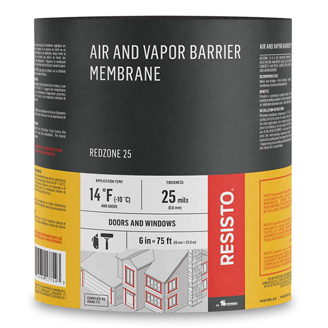 """""""Red Zone 25"""" Air and Vapour Barrier - 9"""" x 75'"""