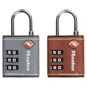 TSA-Certified Padlock - Metal/Leatherette - Brown/Black