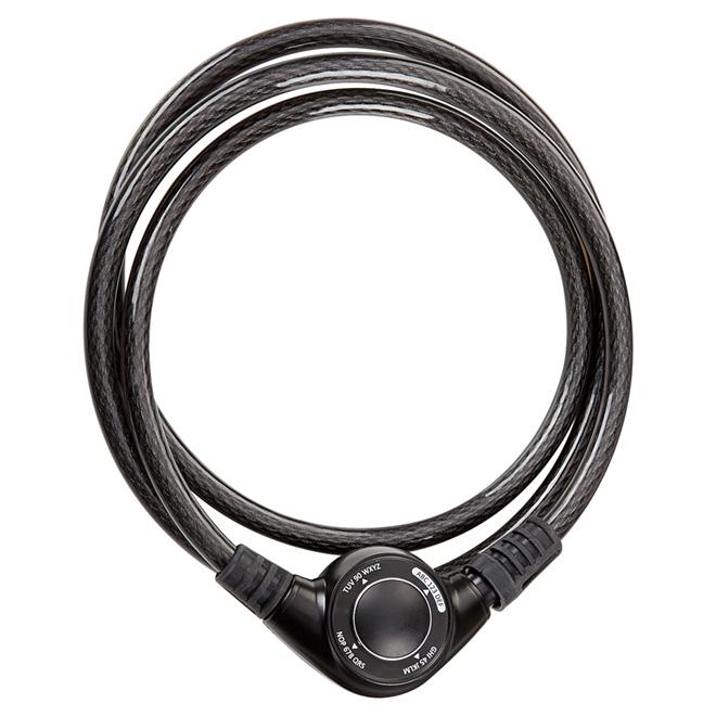 Cadenas à câble en acier tressé, 6', noir