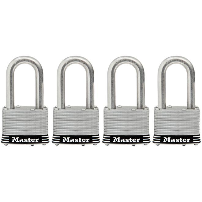 Cadenas à clé Master Lock, 1,75 po, arceau de 1,5 po, acier inoxydable, paquet de 4