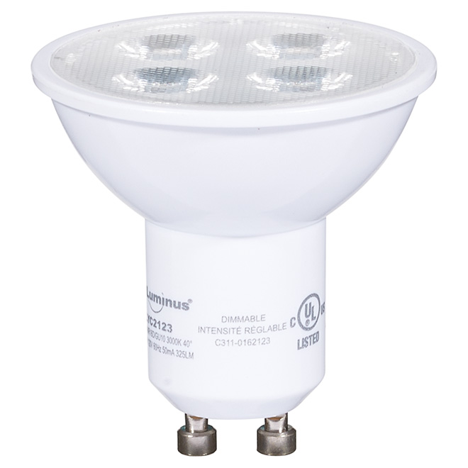 Ampoule DEL GU10 4,5 W, intensité variable, blanc brillant