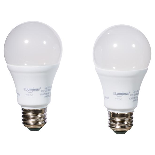 Ampoule DEL A19 9,5 W, blanc chaud, pqt/2
