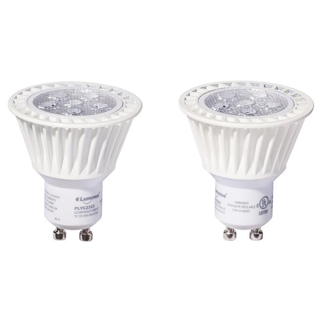 Ampoule DEL GU10, 7W, blanc brillant, paquet de 2