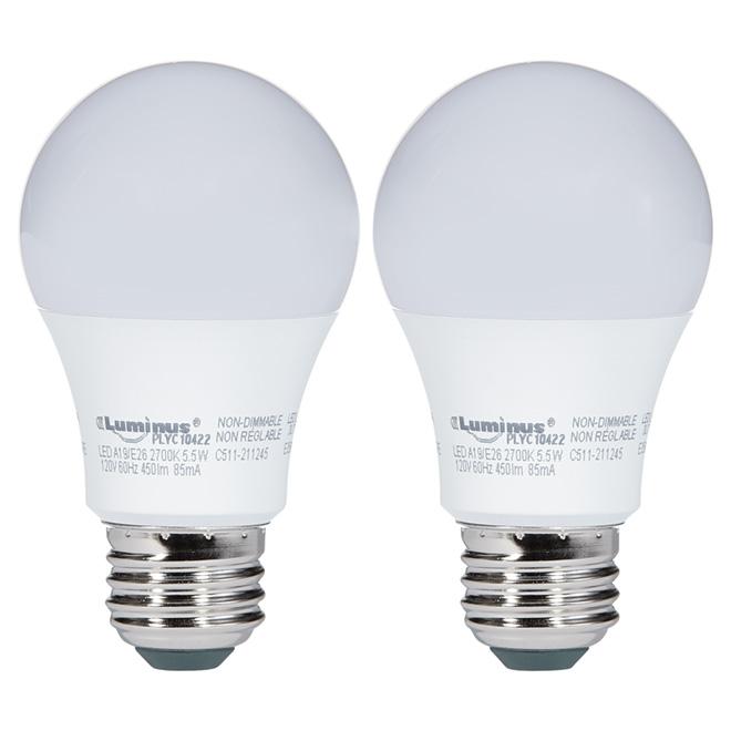 Ampoule DEL A19, 5,5W, blanc chaud, paquet de 2