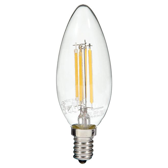 Ampoule à filament DEL, 4W/B11-E12, blanc chaud