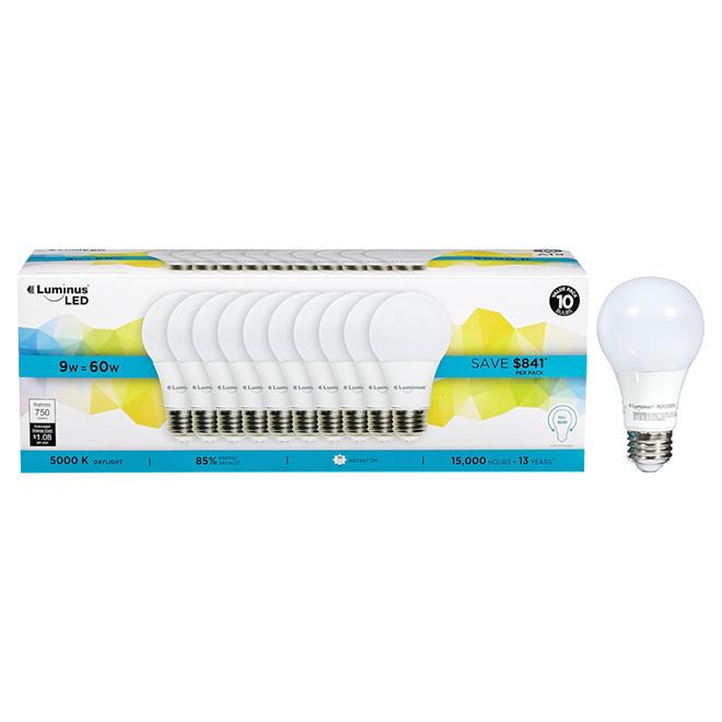 Ampoules DEL A19 9W, non dimmable, lumière du jour, pqt/10