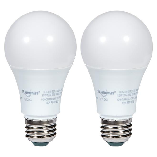 Ampoule DEL A19 9,5 W, non-variable, blanc doux, 2 pqt