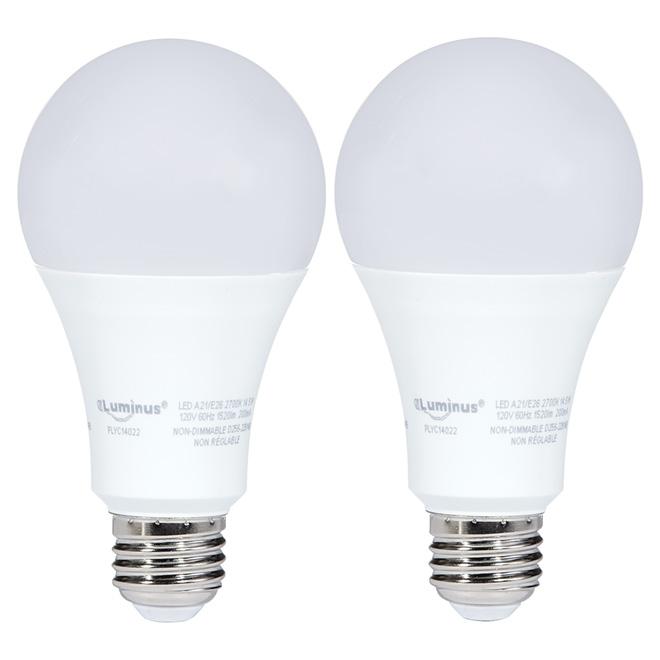Ampoule DEL A21 14,5 W, non variable, blanc doux, paquet de 2