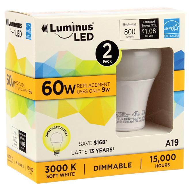 Ampoule DEL A19 9 W, intensité variable, blanc doux, 2/pqt