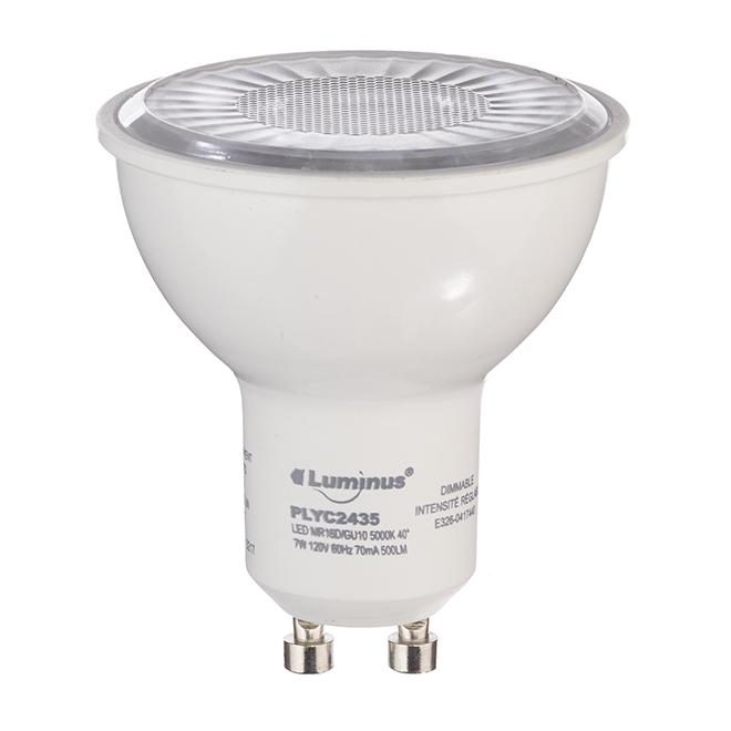 Ampoule DEL GU10 7,0 W, intensité variable, lumière du jour