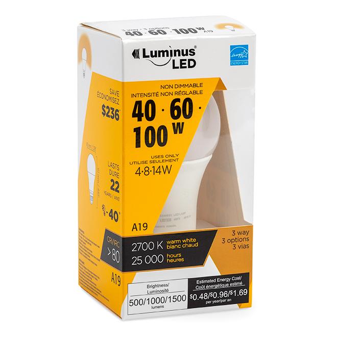 Ampoule DEL Luminus(MD) A19, 4-8-14 W, blanc chaud