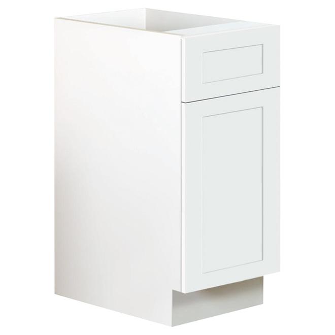 """San Diego Base Cabinet - 1 Door/1 Drawer - 15"""" - White"""
