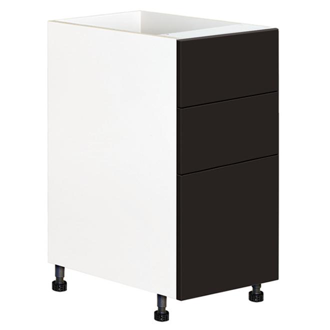 """Eklipse Base Cabinet with Drawers - Onyx - 15 1/8"""" x 34 3/4"""""""