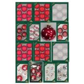 Christmas Ball Ornament Set - Glass - Red/White - Assorted