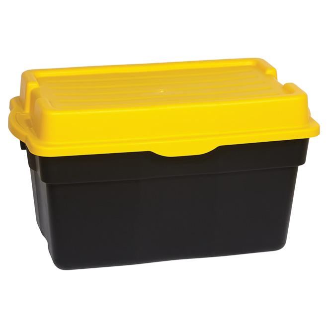 Boîte de rangement robuste, 132 l, noir/jaune