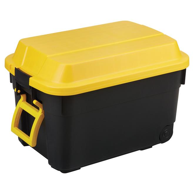 Boîte de rangement sur roues, 95 l, noir/jaune