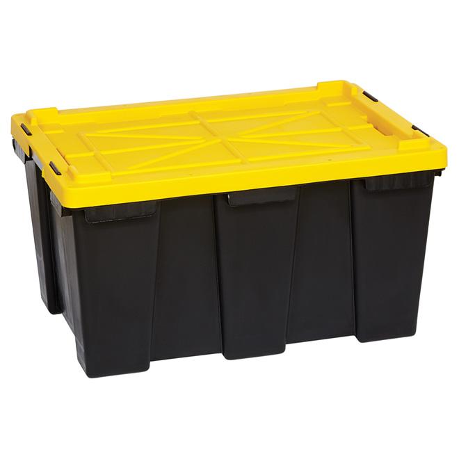 Boîte de rangement robuste, 104 l, noir/jaune