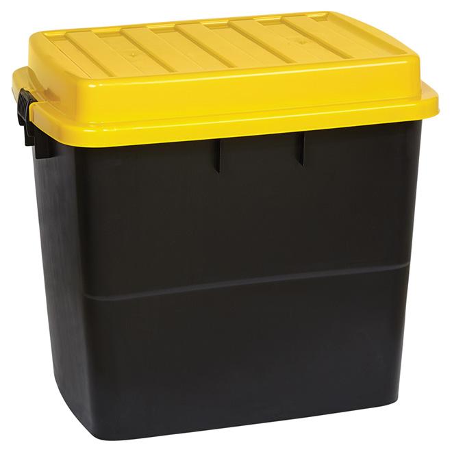 Heavy Duty Storage Bin With Wheels   210L   Black/Yellow