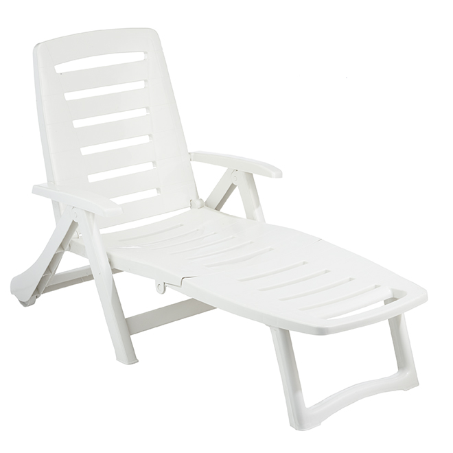 Chaise longue de patio réglable Antigua, blanc
