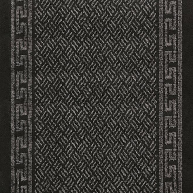 Runner ''Greek Key'' - Polyester - 26'' x 60' - Charcoal