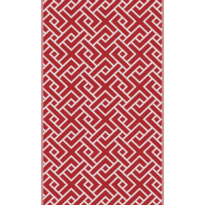 Multy Home Outdoor Area Mat - Geometric Pattern - 3-ft x 5-ft - Polypropylene - Red