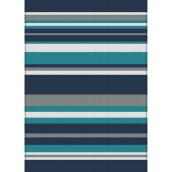 Multy Home Polyester Carpet - Gray Stripes - 5-ft x 7-ft - Blue