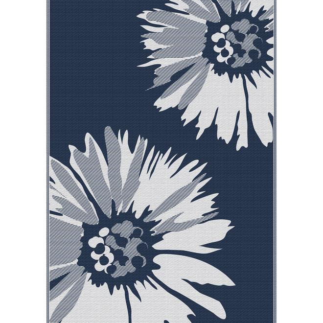 Multy Home Polyester Carpet - Daisy - 5-ft x 7-ft - Navy Blue