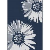Multy Home Polyester Carpet - Daisy - 5-ft x 7-ft - Navy Blue