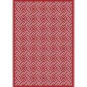 Multy Home Polyester Carpet - Geo - 5-ft x 7-ft - Red