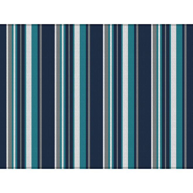 Multy Home Polyester Carpet - 9-ft x 12-ft - Blue, White and Grey Stripes