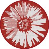 Multy Home Round Polyester Rug - Daisy Pattern - 5-ft - Red