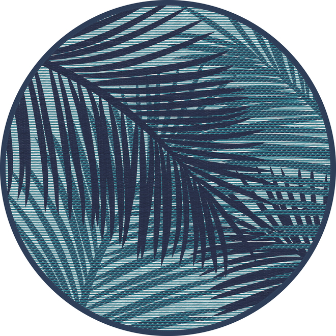 Multy Home Round Polyester Rug - Palm - 5-ft - Teal