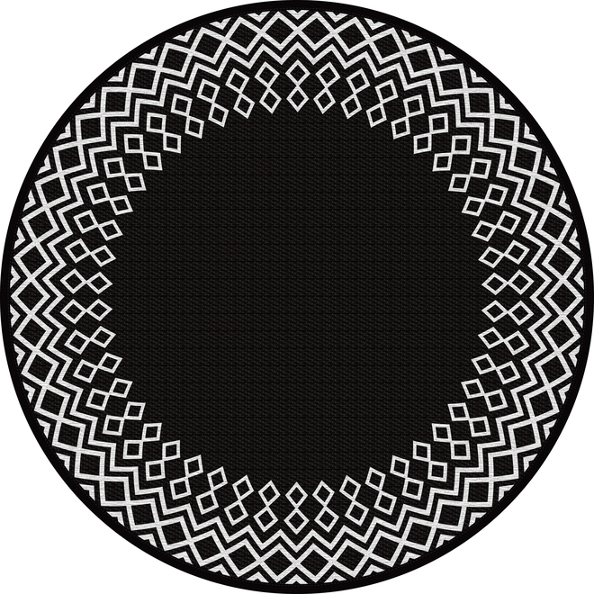 Multy Home Round Polyester Rug - 5-ft - Black Borders