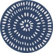 Tapis rond Multy Home en polyester, éclats blancs, 5 pi, bleu