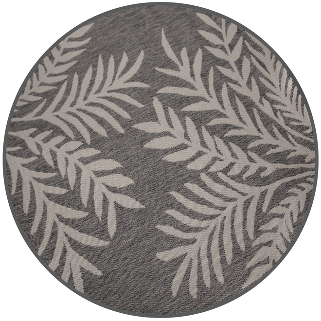 Multy Home Fresco Round Polyester Rug - Leaves - 6.6-ft - Grey