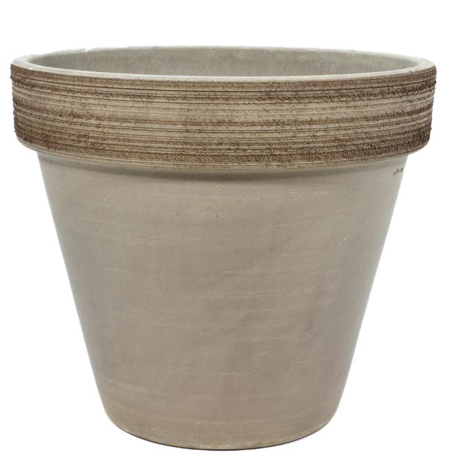 "Clay Planter Pot - Vulcano Graffiato - 12 1/4"" - Grey"