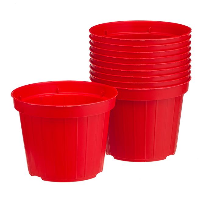 """Paquet de 10jardinières Norma en plastique, 4"""", rouge"""