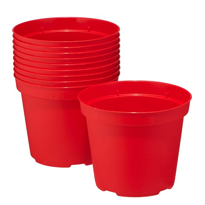 """Paquet de 10jardinières Norma en plastique, 4,7"""", rouge"""