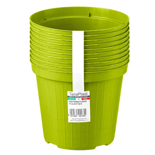 """Paquet de 10jardinières Norma en plastique, 4,7"""", cèdre"""
